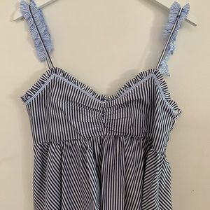 ZARA Blue and White Striped Blouse | Size M